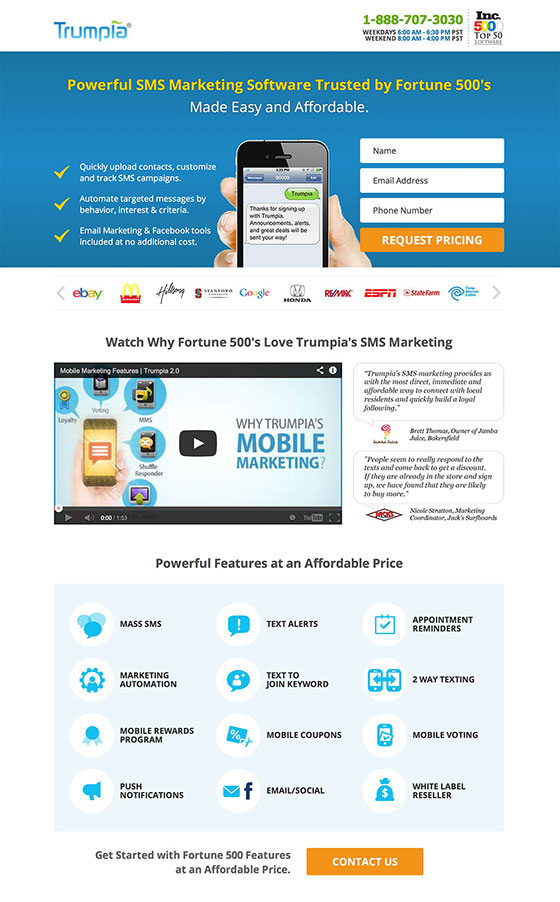 landing page with 2 ctas